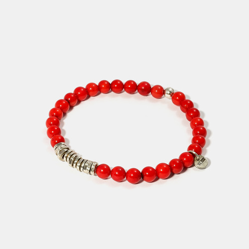Round Red Coral Beads Silver Charm Bracelet- BRACELET of KEIO -