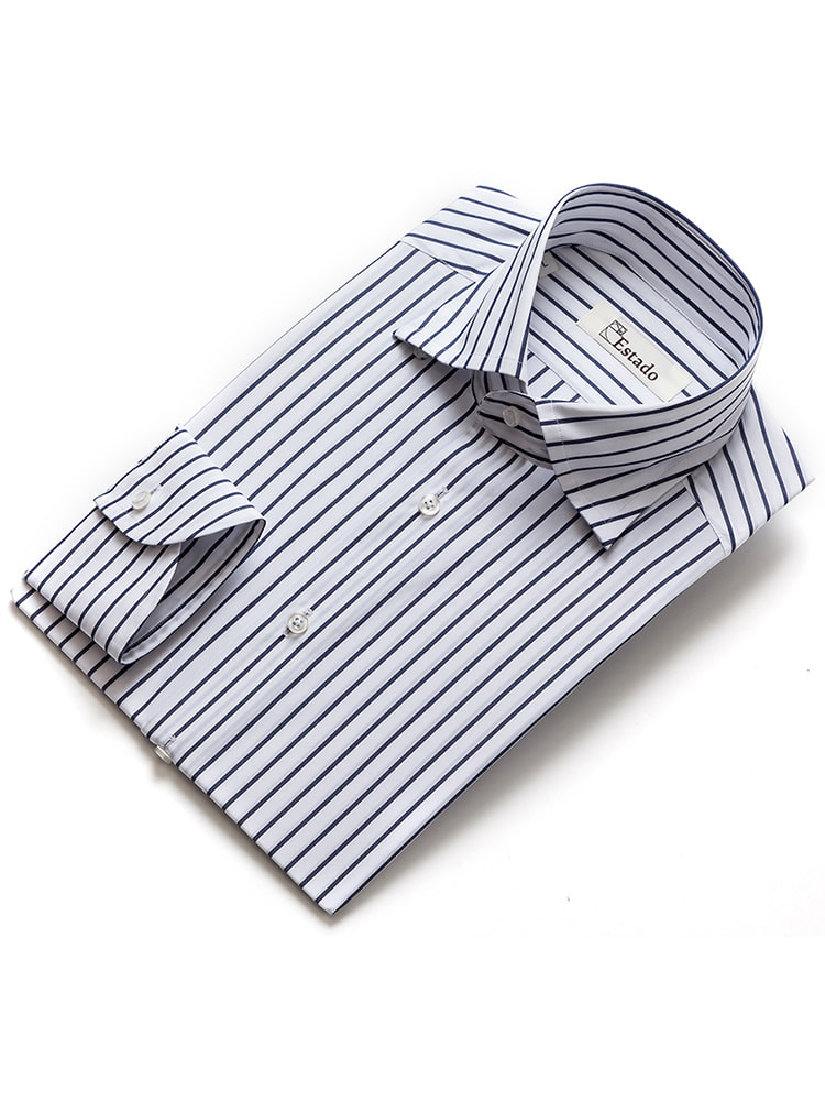 Cotton shirts - Narrow stripe (White/Navy)