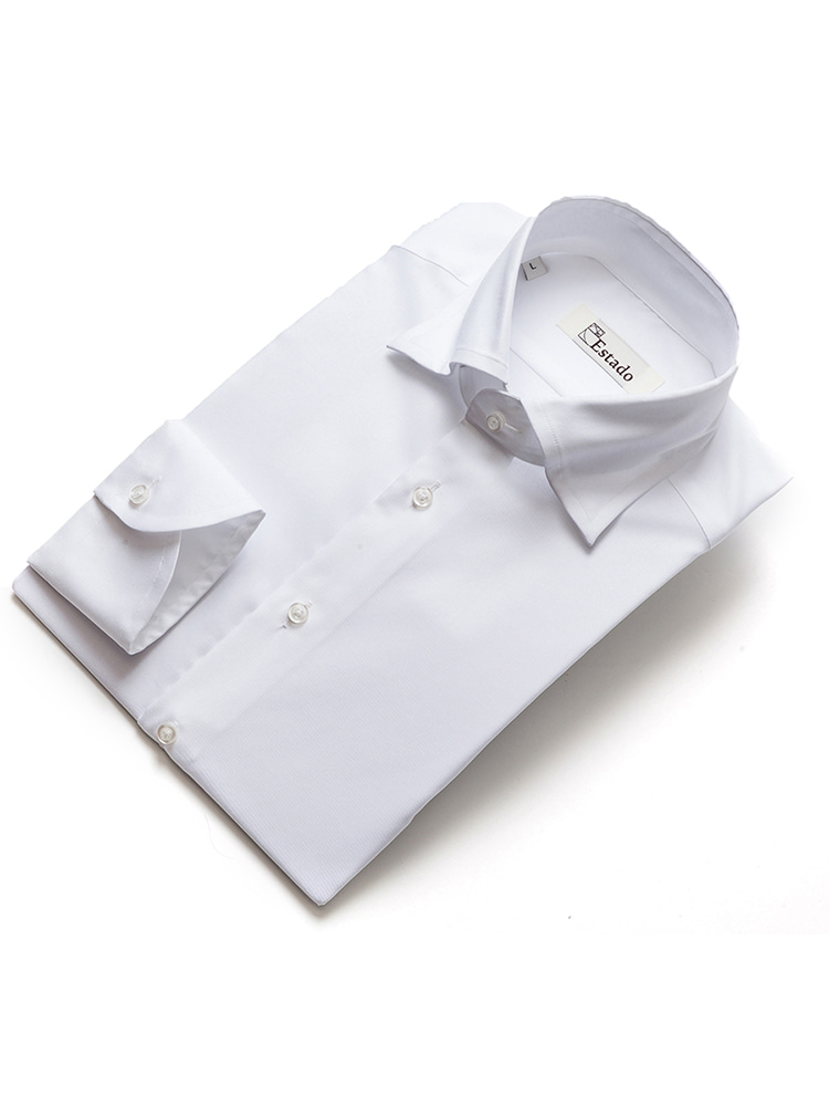 Cotton shirts - Solid (Wide collar/White)