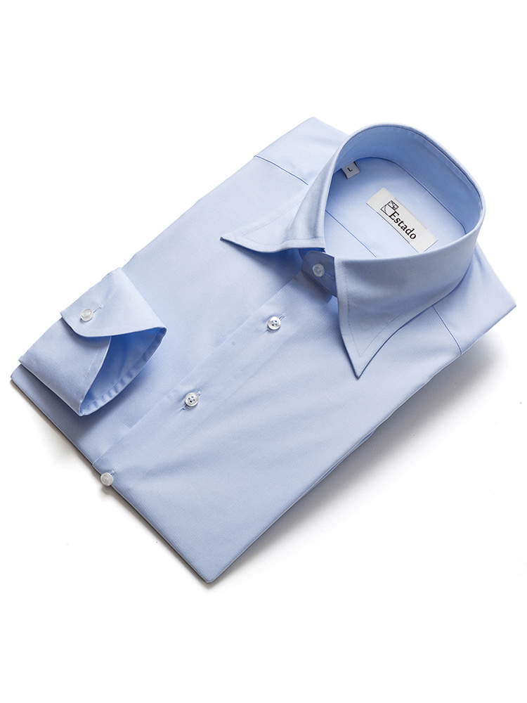 Cotton shirts - Solid (Long-point/Skyblue)ESTADO(에스타도)