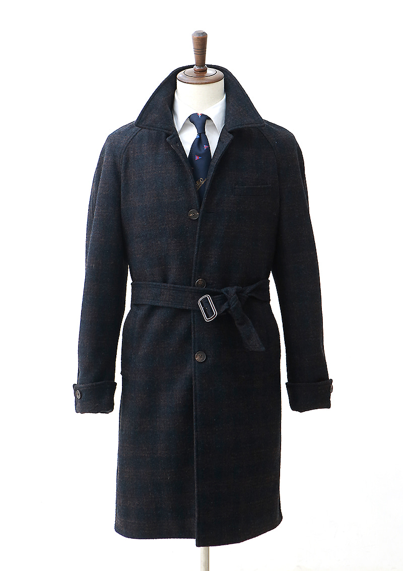 Belted Raglan Coat - Dark Navy Checkcentro(첸트로)