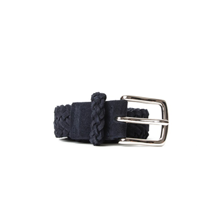BRAIDED SUEDE BELT (NAVY) Esfai(에스파이)