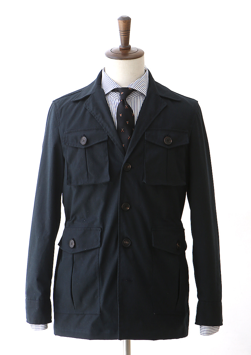 Waxed Cotton Safari Jacket - Dark Navycentro(첸트로)