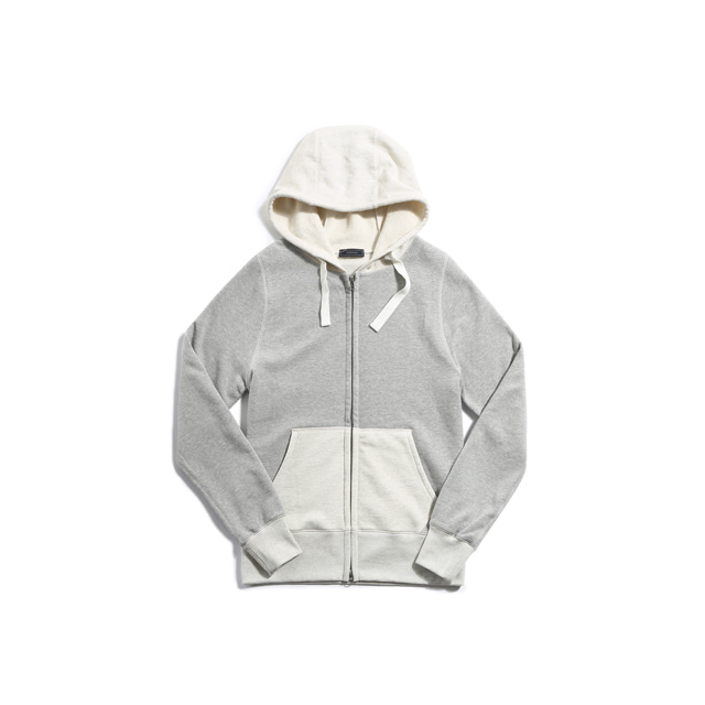 Sweat zip parka(GRAY/OATMEAL)Pistilo