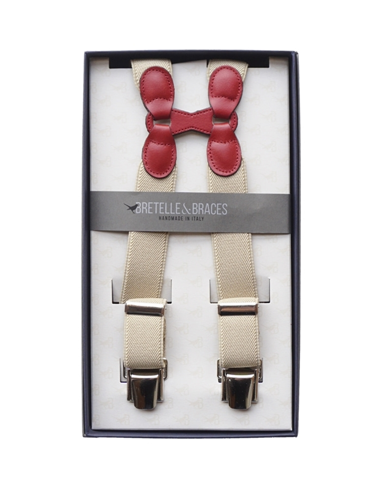 Braces & Bretelle Suspenders (beige &red)