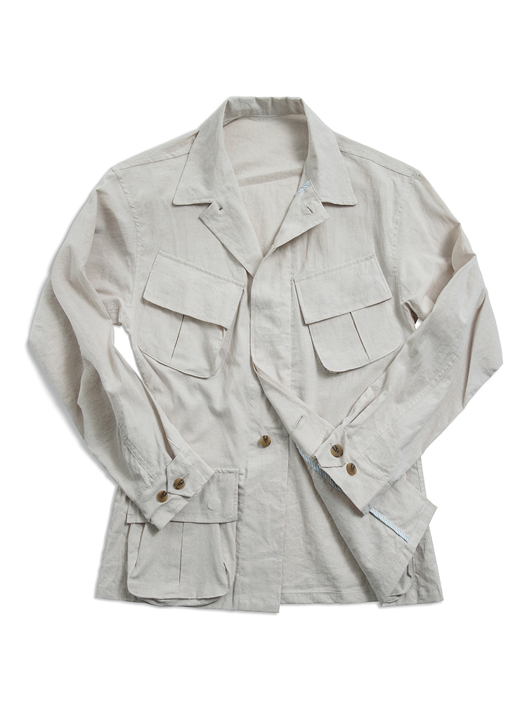 Linen safari jacket IVORYNIDDLE&STITCH(니들앤스티치)