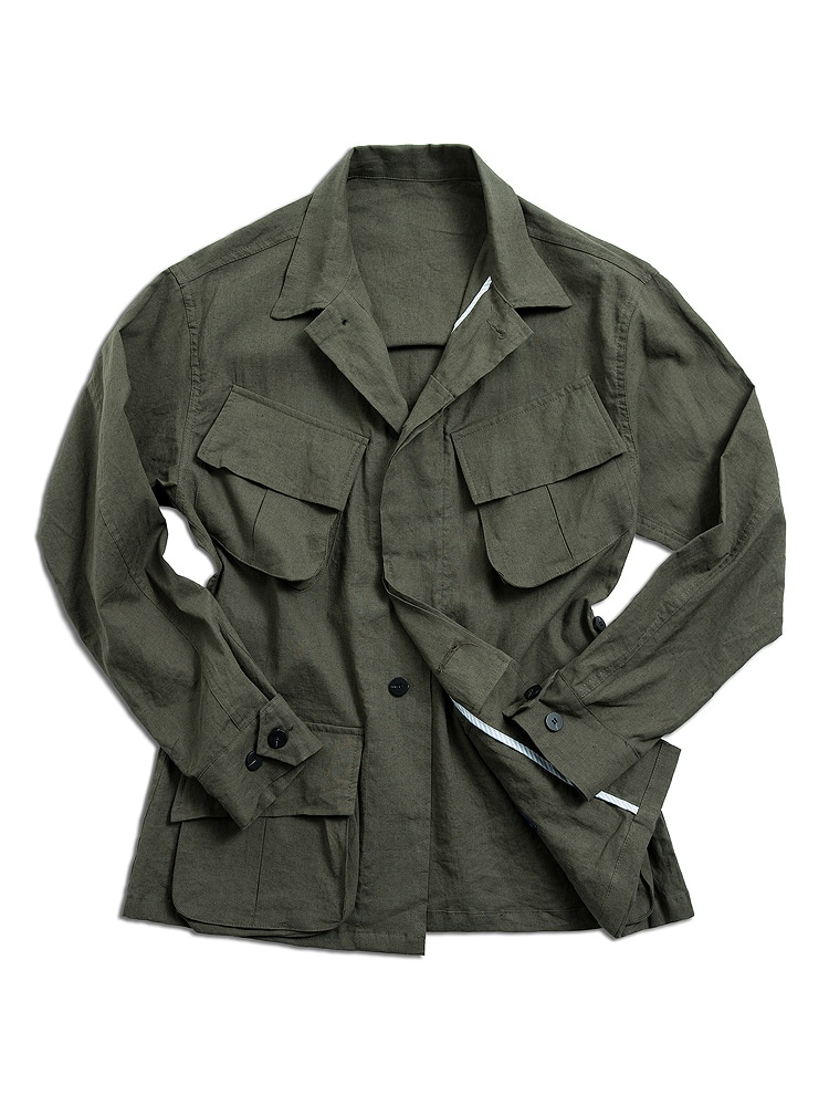 Linen safari jacket KHAKINIDDLE&STITCH(니들앤스티치)