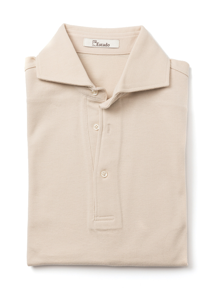 Pique shirts - Wide collar (Beige)ESTADO(에스타도)