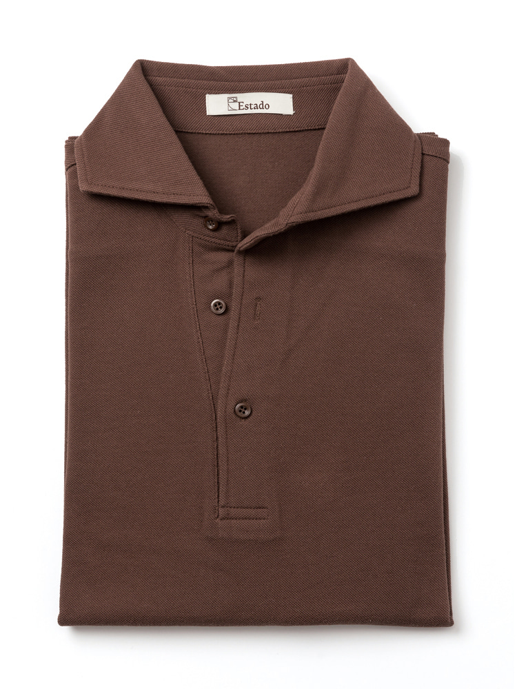 Pique shirts - Wide collar (Brown)ESTADO(에스타도)