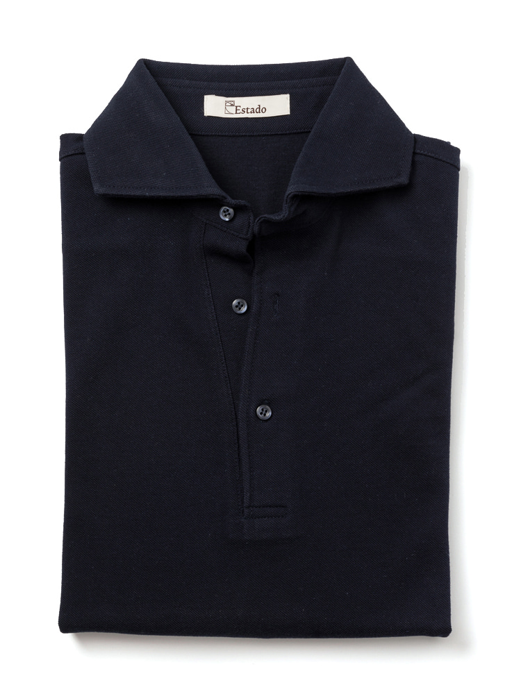 Pique shirts - Wide collar (Navy)ESTADO(에스타도)