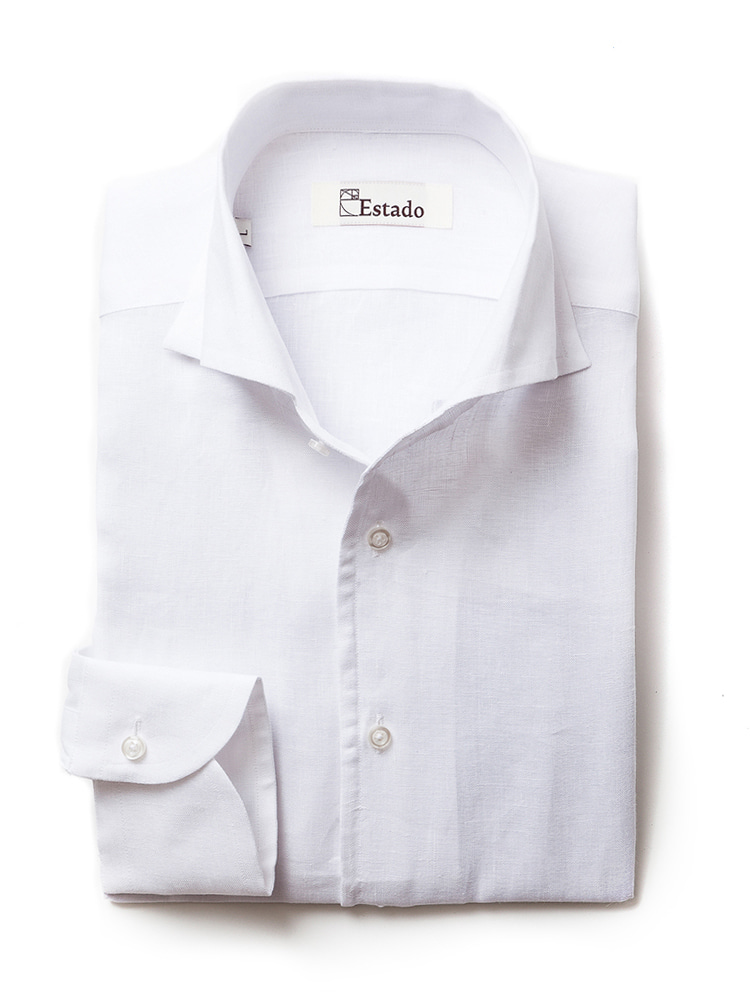 Linen shirts - One piece collar (White)estado(에스타도)