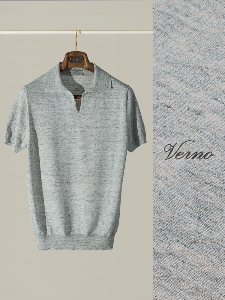 V'Line Polo knit light greyVERNO(베르노)