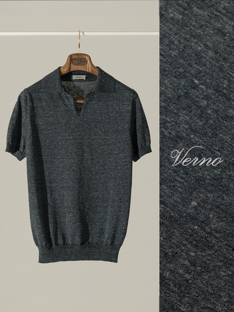 V'Line Polo knit dark greyVERNO(베르노)