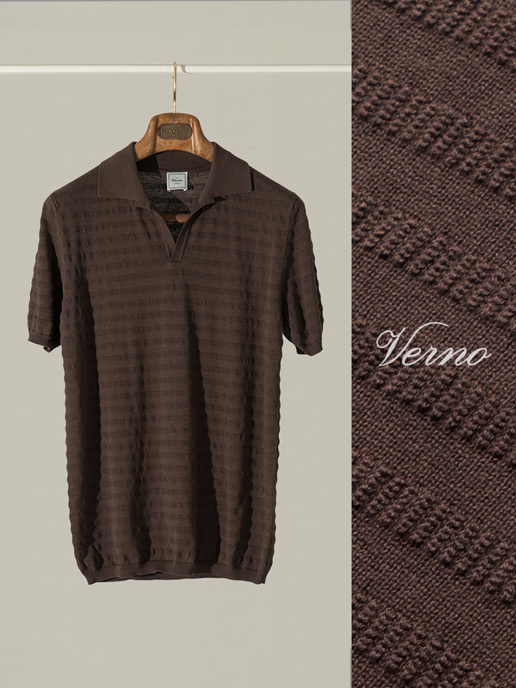 Angular collar stripe polo knit-BROWNVERNO(베르노)
