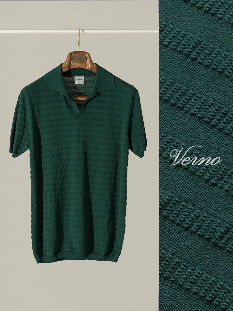 Angular collar stripe polo knit-DARK GREENVERNO(베르노)