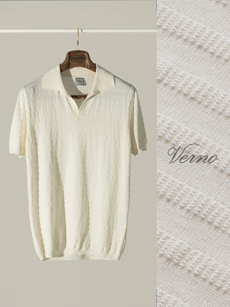 Angular collar stripe polo knit-IVORYVERNO(베르노)