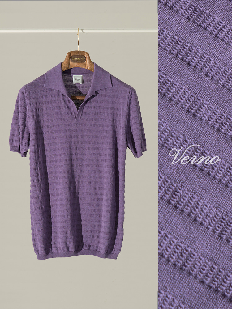 Angular collar stripe polo knit-PURPLEVERNO(베르노)