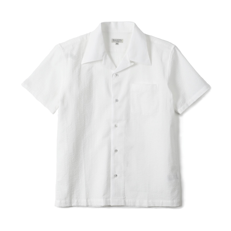 GTB Seersucker Cotton Open Collar Shirt Half - WhiteBANTS(반츠)