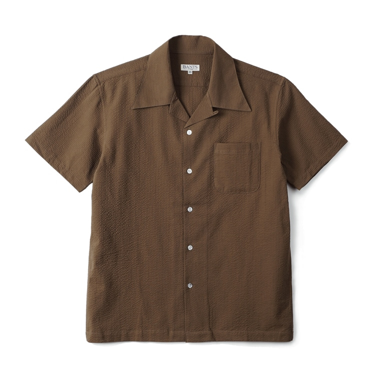 GTB Seersucker Cotton Open Collar Shirt Half - Olive DrabBANTS(반츠)