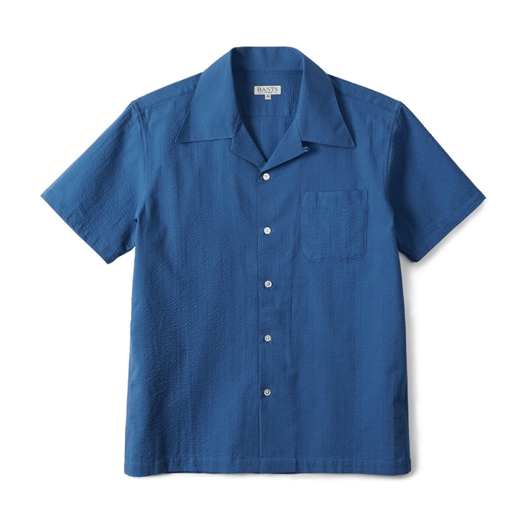 GTB Seersucker Cotton Open Collar Shirt Half - BlueBANTS(반츠)