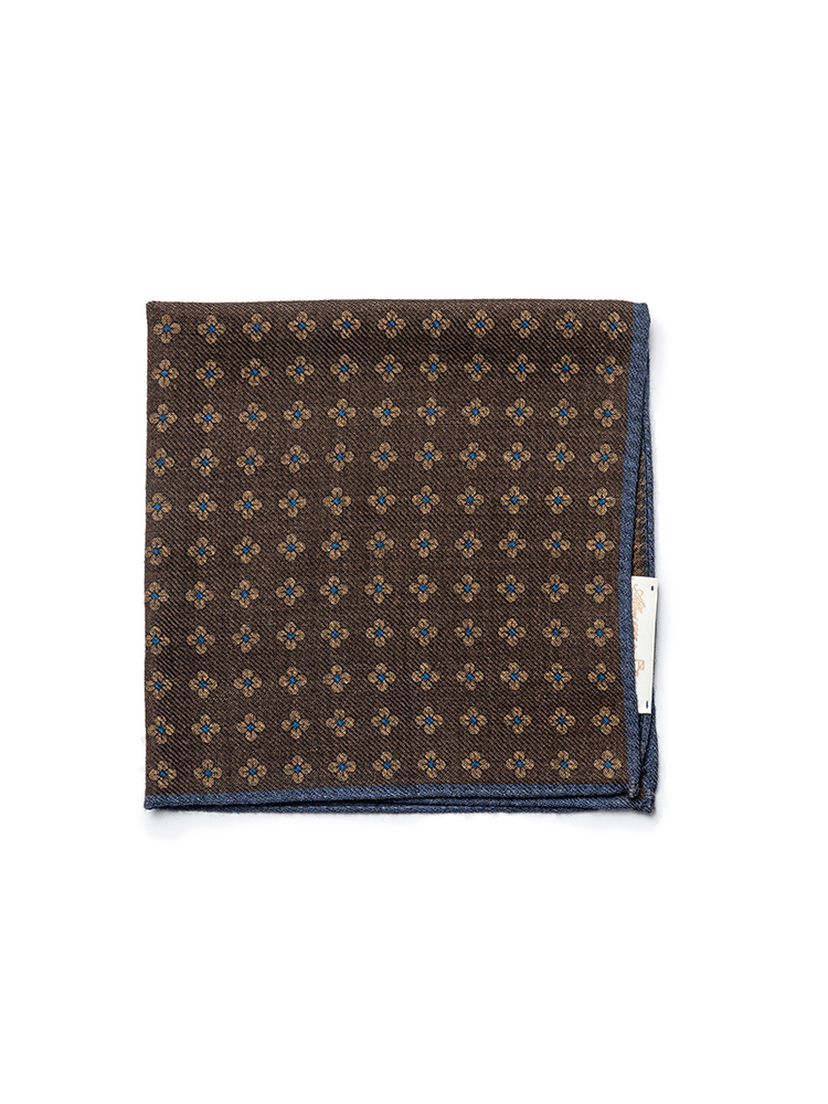 pocket squares 06 - Brown flower & houndtoothEstado X Albeni(에스타도)