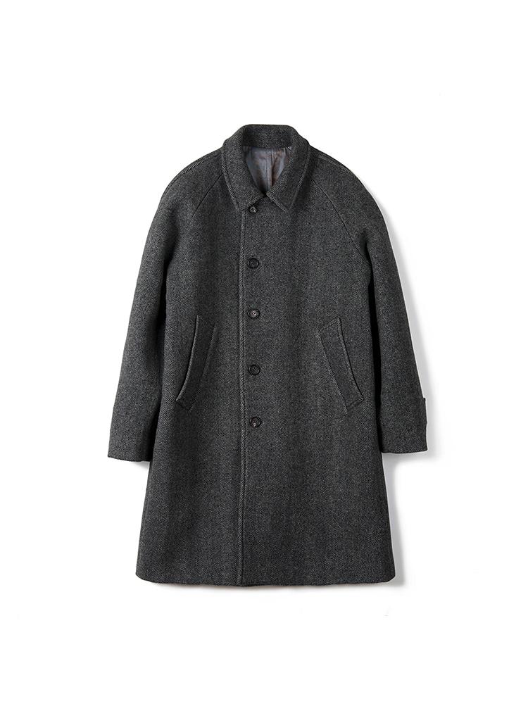 BTS Herringbone Wool Balmacaan Coat - GreyBANTS(반츠)