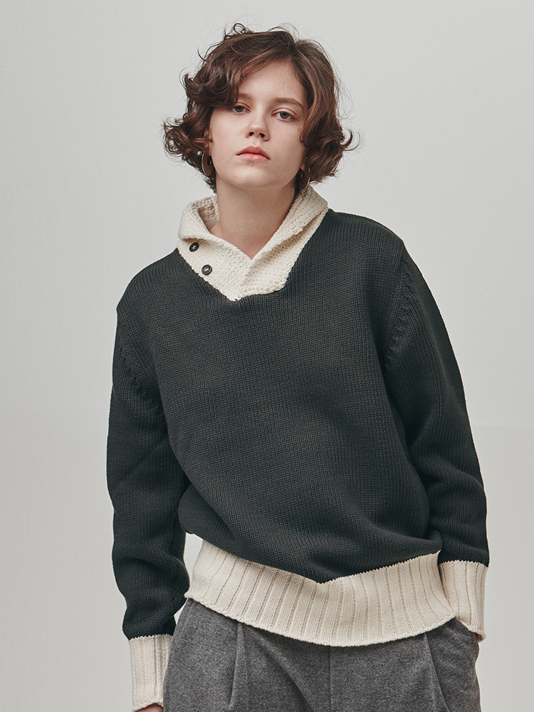 SHAWL-COLLAR COTTON SWEATER (CHARCOAL GRAY-CREAM)ESFAI(에스파이)