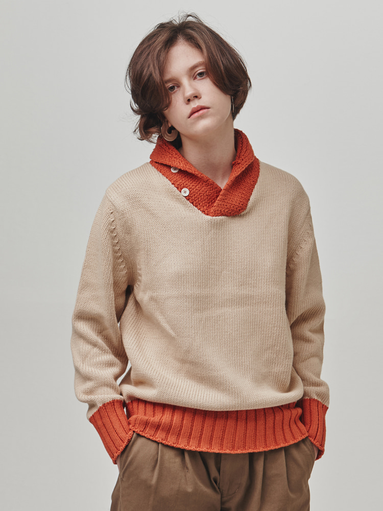 SHAWL-COLLAR COTTON SWEATER (BEIGE-ORANGE)ESFAI(에스파이)