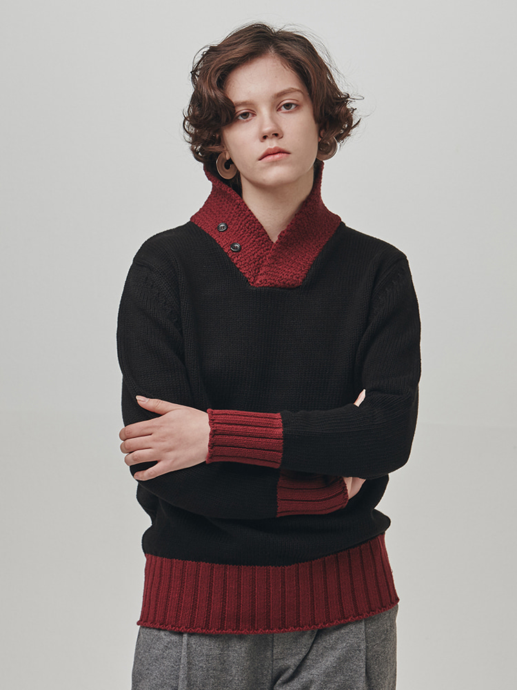 SHAWL-COLLAR COTTON SWEATER (BLACK-BURGUNDY)ESFAI(에스파이)