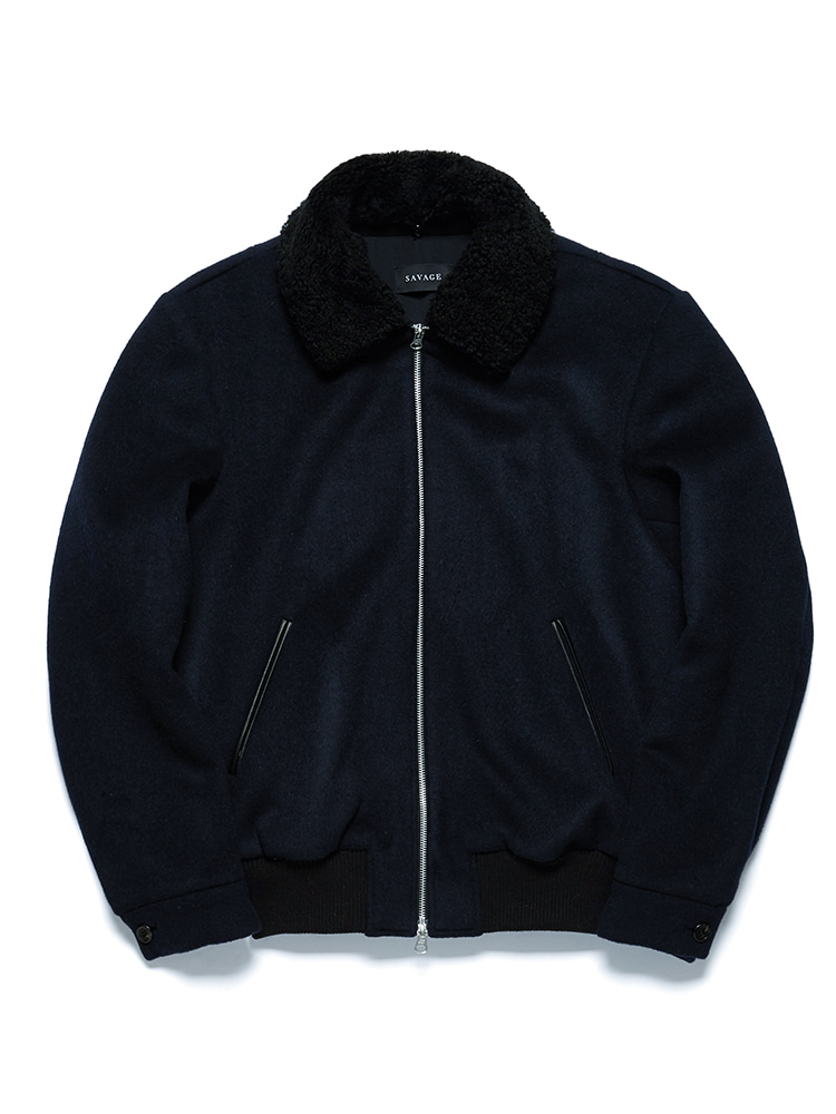 Navy Shearling Bomber Jacket - detachable collar(칼라 양모 색 변경가능)SAVAGE(세비지)