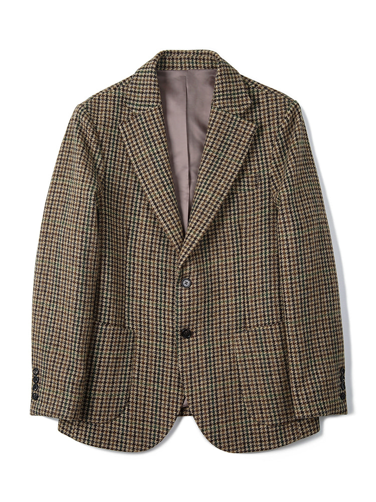 BANTS BTS Gun Club Check Tweed Wool 2B Single Jacket - Brown반츠3차 리오더