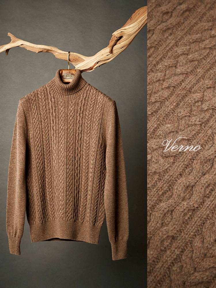 calble turtleneck knit brownVERNO(베르노)
