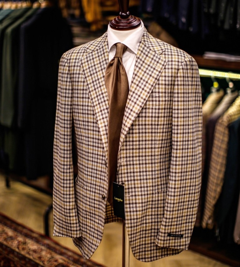 LMJ-05 di pray beige brown gingham check jacketLamarche Napoli made by RingJacket라마르쉐나폴리