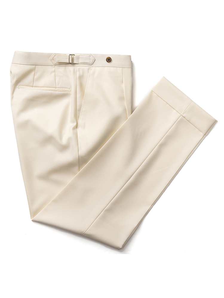 에스타도(ESTADO)Canonico wool Beltless Pants (Cream)