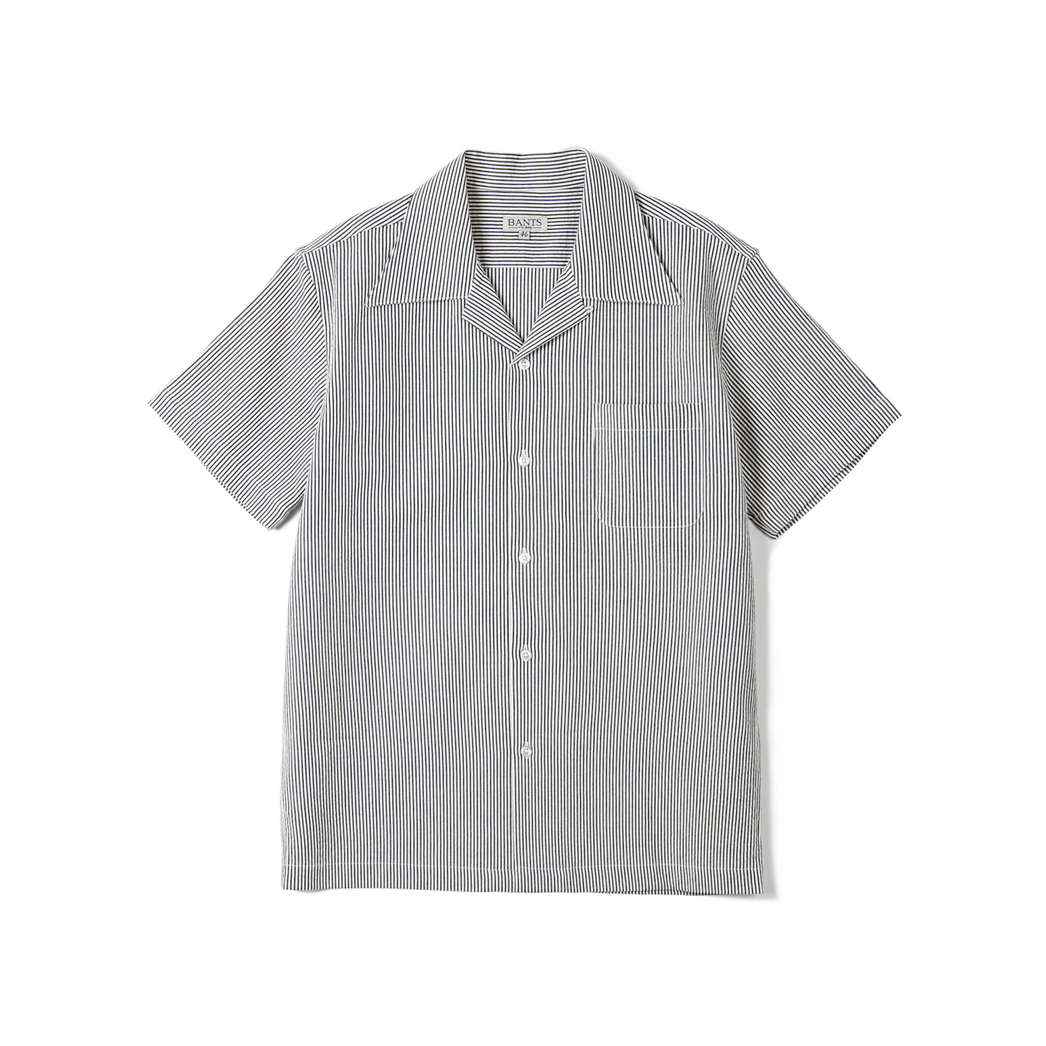 FLB Stripe Seersucker Open Collar Shirt - NavyBANTS(반츠)