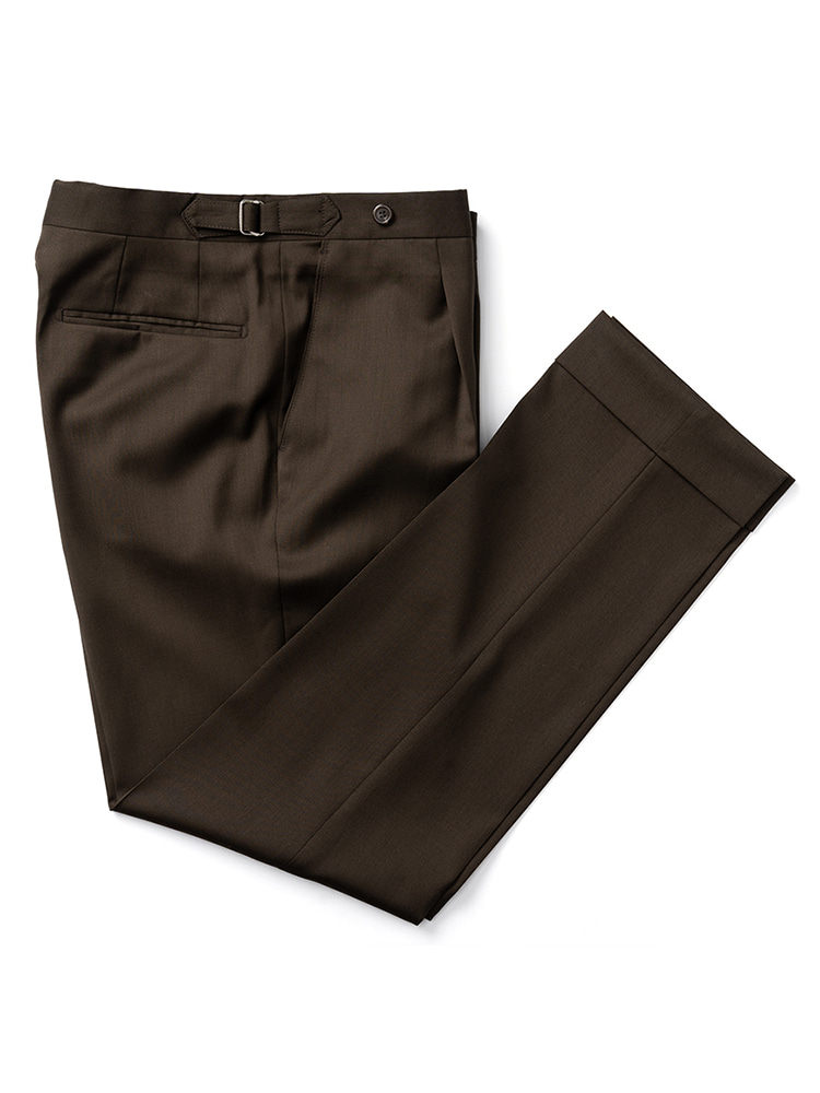 에스타도(ESTADO)Caccioppoli wool Beltless Pants (Brown)