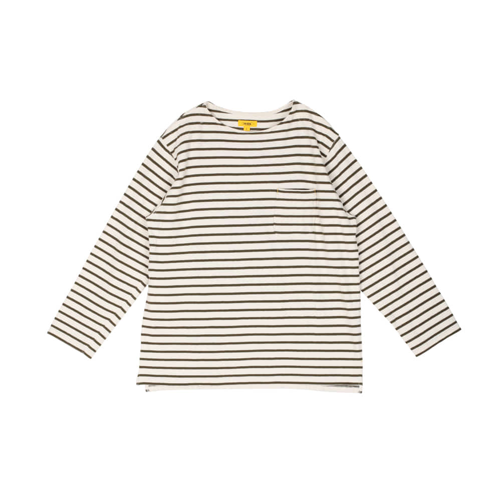 POP STRIPED L/S TEE [KHAKI]더레스큐(THERESQ)