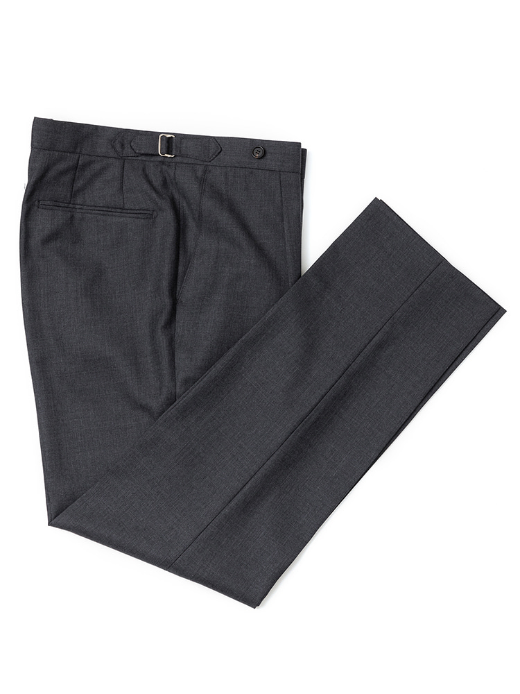 에스타도(ESTADO)Barrington Wool pants - Charcoal gray (one pleats)