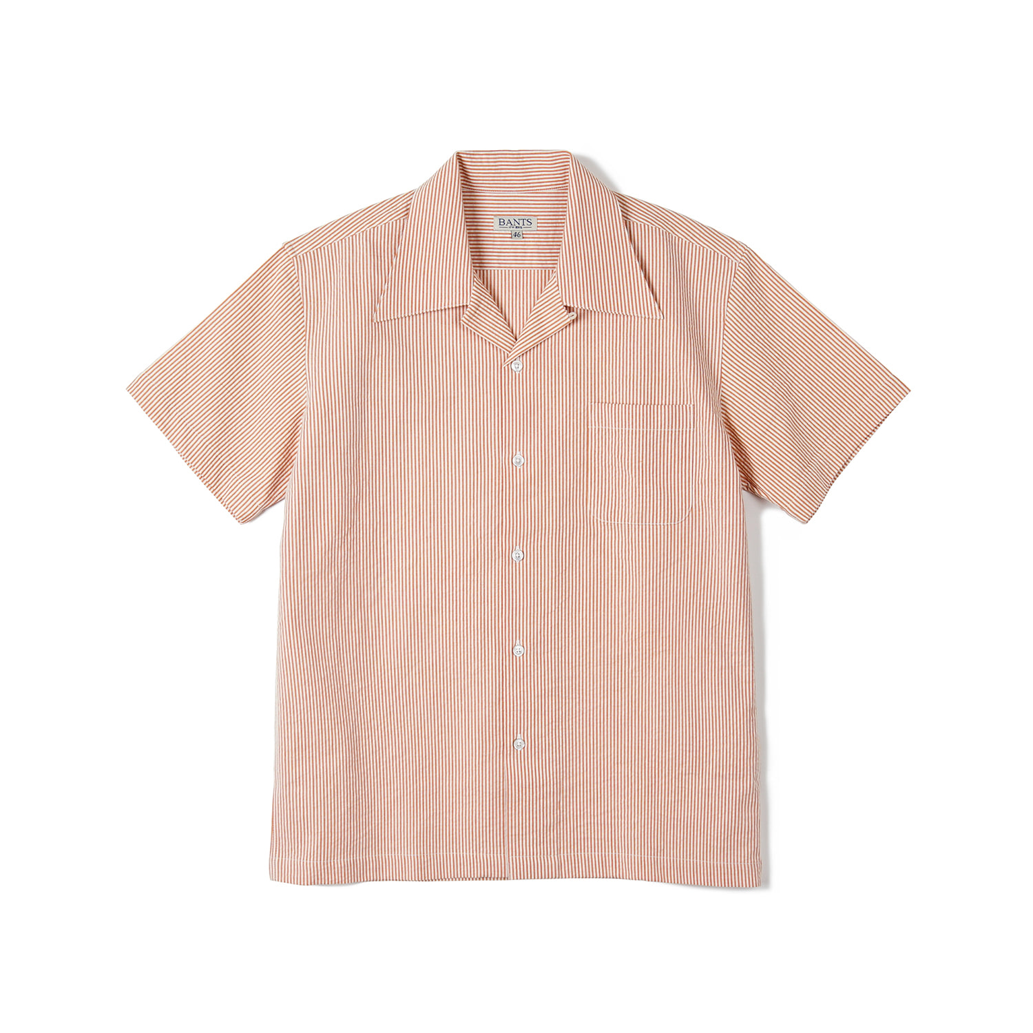 FLB Stripe Seersucker Open Collar Shirt - OrangeBANTS(반츠)