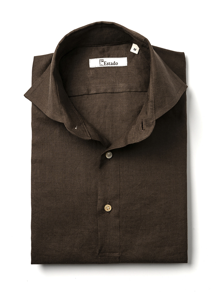 Linen shirts - PullOver (Brown)Estado(에스타도)