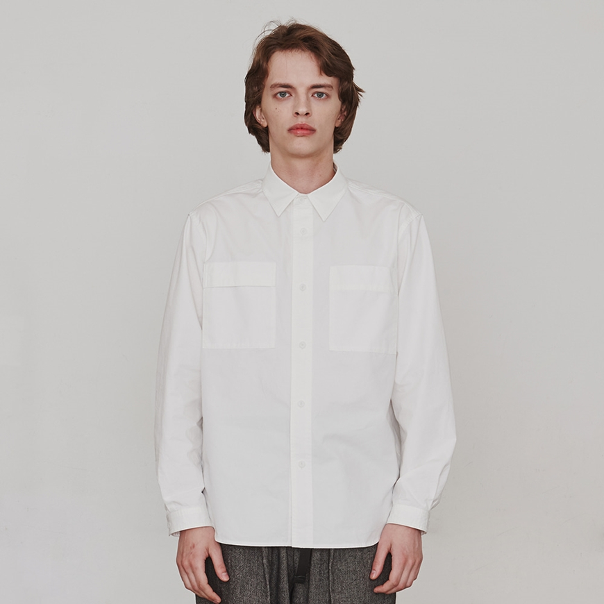에스파이[ESFAI] Two-Sided Pocket Shirt (White)