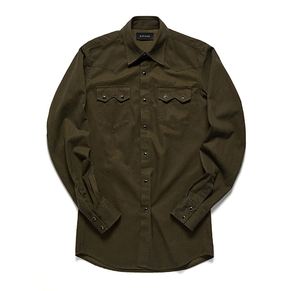 세비지(SAVAGE)Khaki Western Shirts