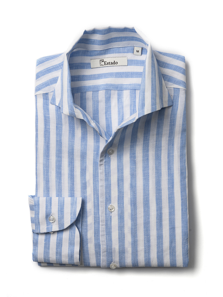 Linen shirts - One piece collar (Skyblue-stripe)Estado(에스타도)