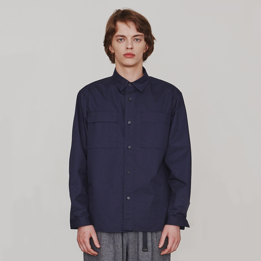 에스파이[ESFAI] Two-Sided Pocket Shirt (Navy)