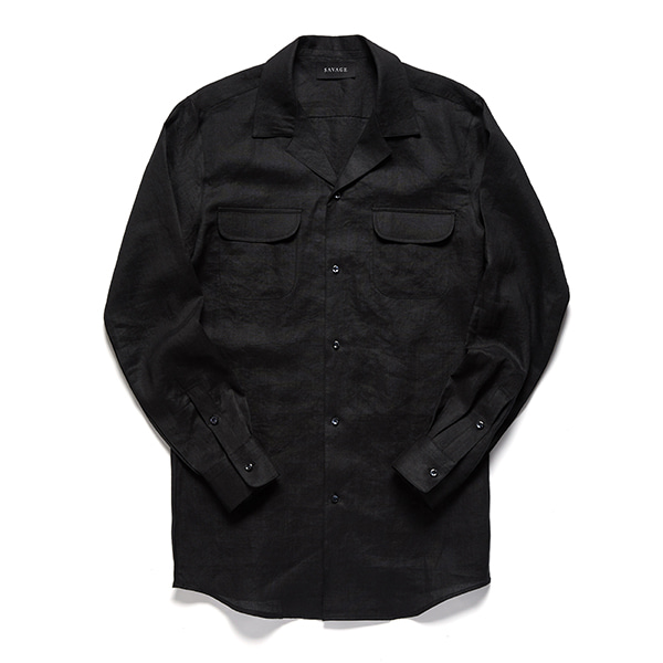 세비지(SAVAGE)Black Linen Cuban Collar Shirts