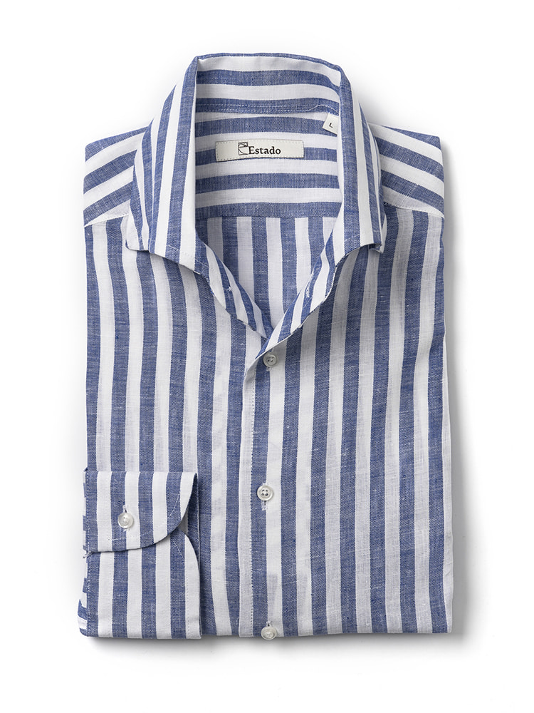 Linen shirts - One piece collar (Blue-stripe)Estado(에스타도)