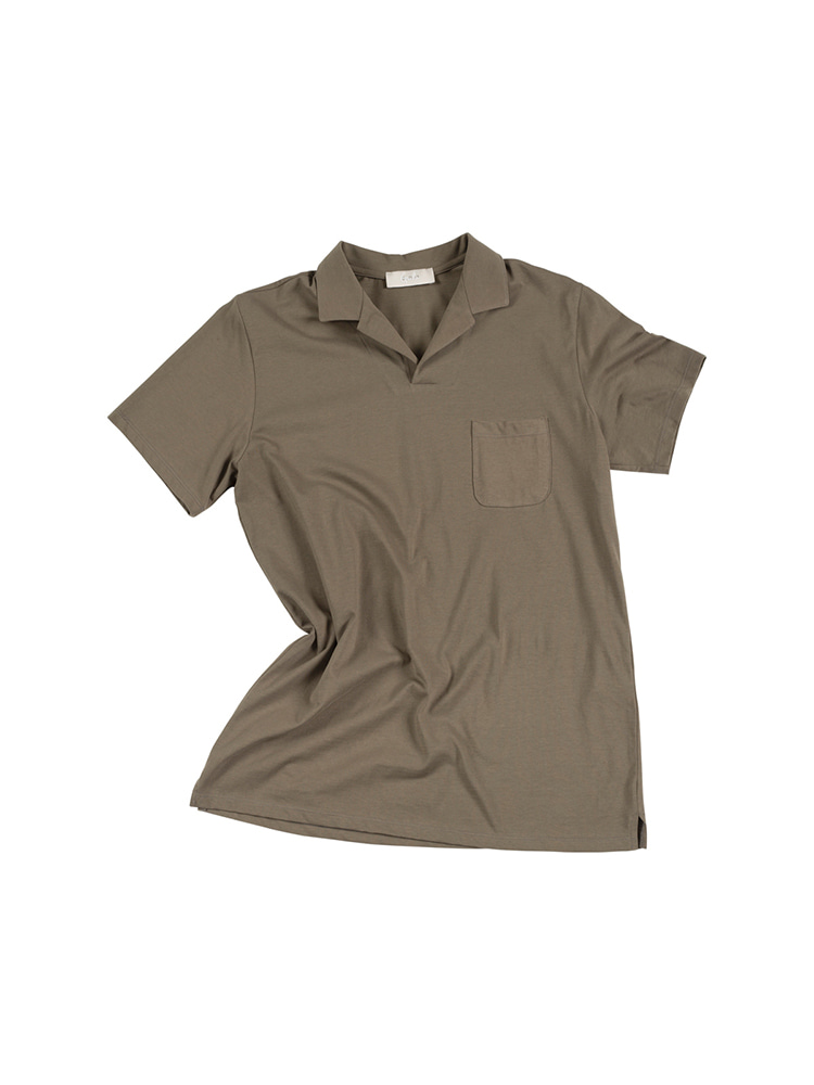 GENTLE Open Collar Polo Shirts - Khaki OLDbe(올드비)