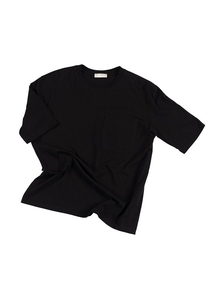 ATTRACTIVE Crew neck Pocket Tee - Black OLDbe(올드비)
