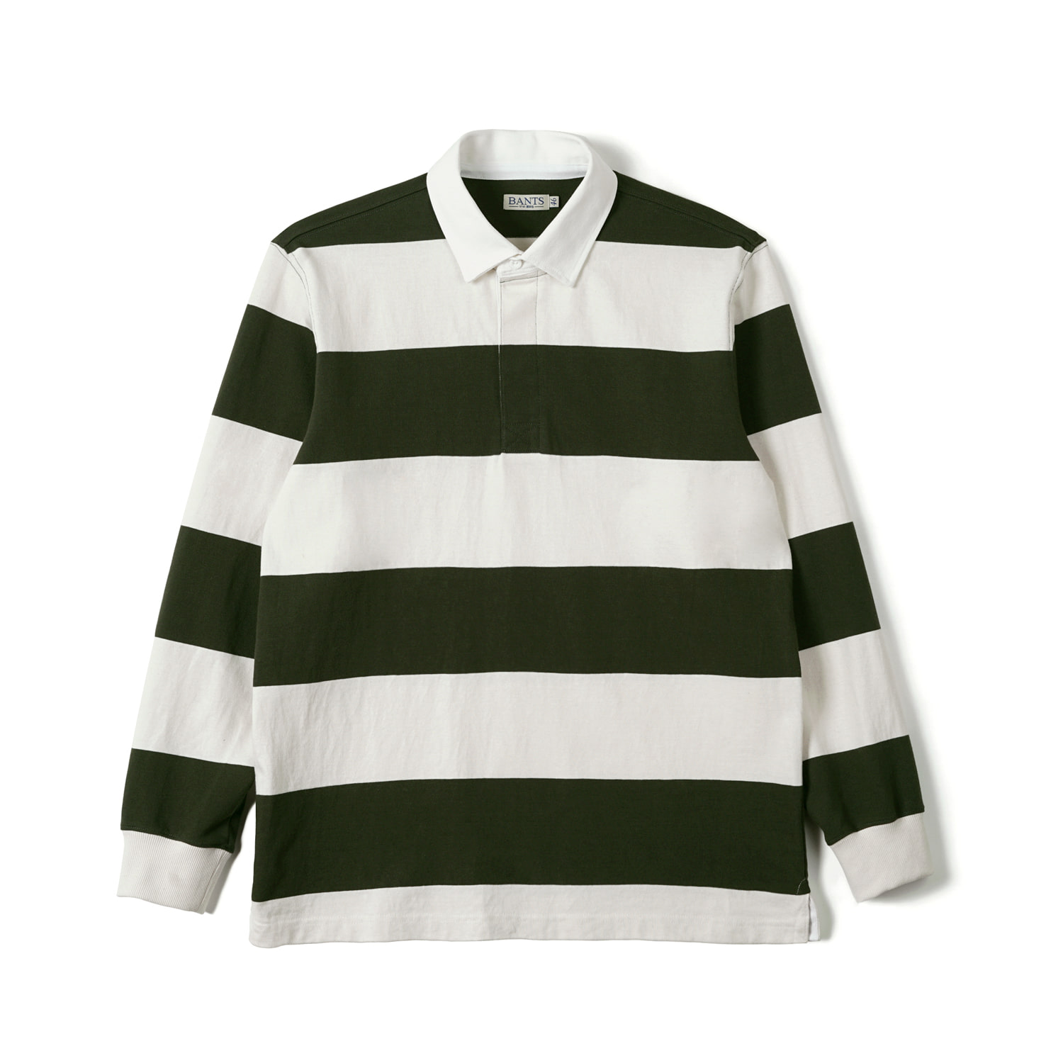 FLB Stripe Cotton Rugby T-shirt Olive x Off WhiteBANTS(반츠)