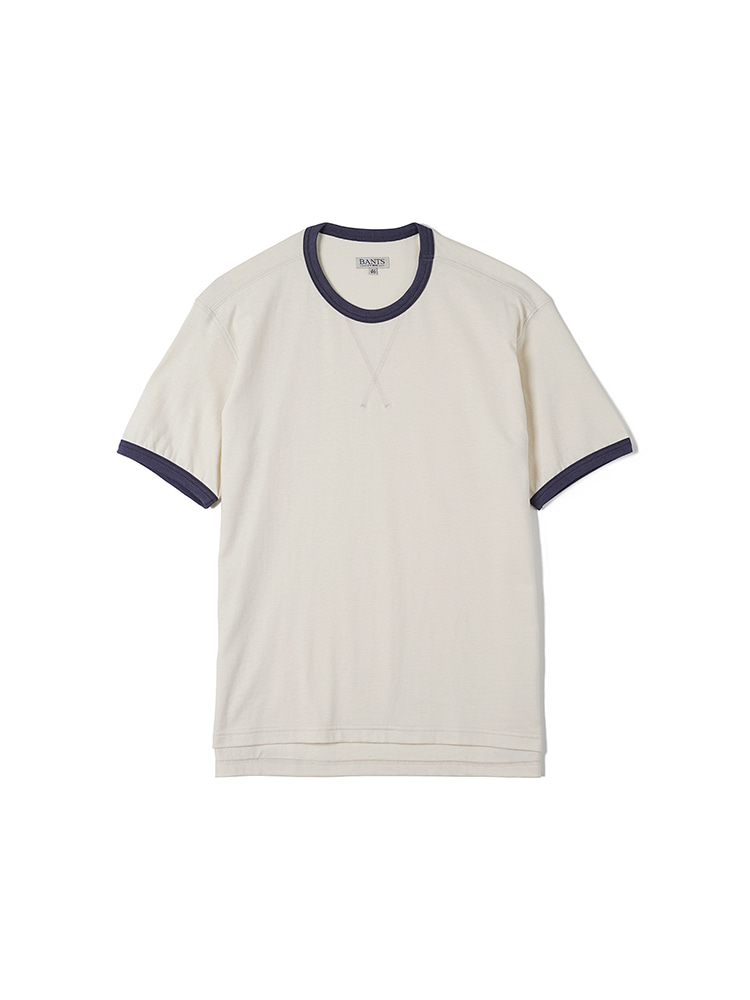 FLB Cotton Round Neck T-shirt Half - OatmealBANTS(반츠)